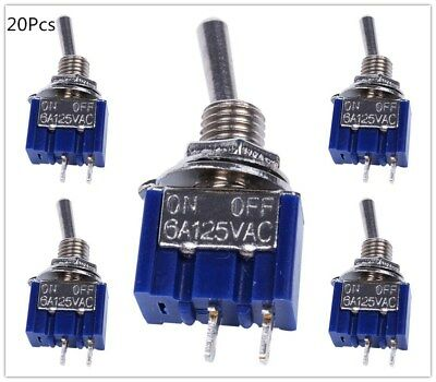 20pcs 2 Pin SPST ON-OFF 2 Position 6A 125VAC Mini Toggle Switches MTS-101