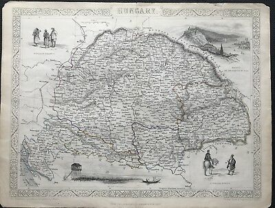 Rare Antique Map HUNGARY c1851 by Tallis & Rapkin, original, outline colour