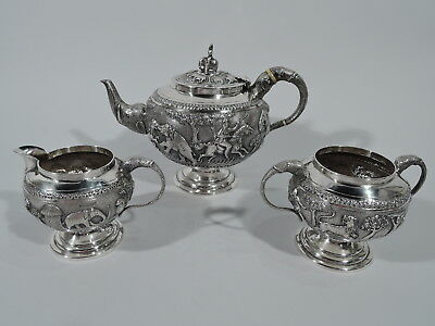 Antique Tea Set - Colonial Raj Export Beast & Man Service - Indian Silver