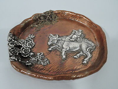 Gorham Tray - Y59 - Aesthetic Japonesque - American Mixed Metal Copper Silver