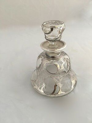 Antique Silver Overlay Perfume Bottle Sterling Art Nouveau Style