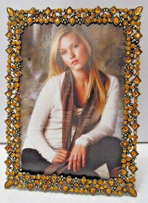 """Antique Vintage Style Gold Brass Amber Crystals Jeweled 4""""x 6"""" Picture Frame"""