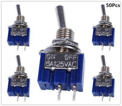 50pcs 2 Pin SPST ON-OFF 2 Position 6A 125VAC Mini Toggle Switches MTS-101
