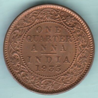 British India - 1935 - King George V Emperor - One Quarter Anna - Ex Rare Coin