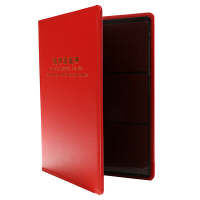 1pc 60 Pockets Paper Money Collection Album Leather Notes Book Holders Red