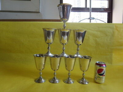 """Lot of 8 6.25"""" Towle William Adams Silverplate Water Goblets. No Monogram."""