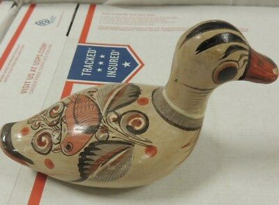 Vintage Ceramic Duck Mexico Hand Painted/Made Folk Art Collectable Tonala