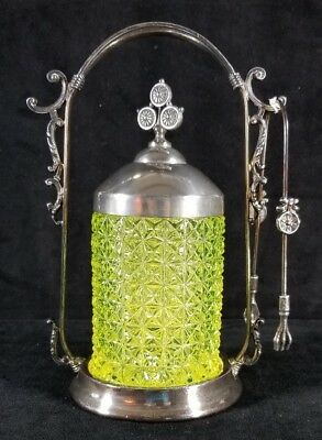 Antique 1880s Vaseline Green Glass Pickle Jar W Caster Tongs By Forbes Silver Co