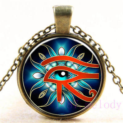 Vintage Cabochon Glass Necklace bronze charm chain pendants: eye of horus devil