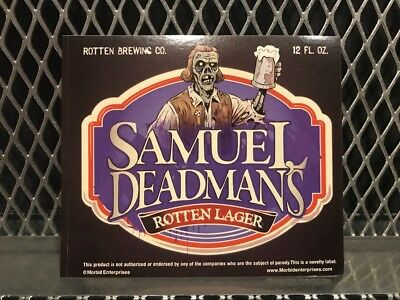 SAM ADAMS BEER Mock Bottle Label ~ DEADMANS LAGER ~ Funny Halloween Sticker