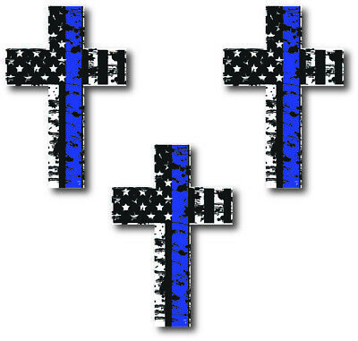 Thin Blue Line Cross Decal  Sticker Car Truck Jeep Police Officer Cop Blue Lives