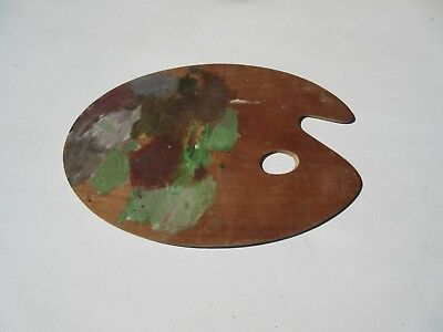 used wooden artists paint palette
