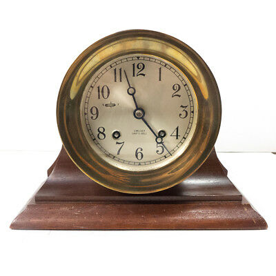 Vintage CHELSEA Ship's Bell Brass Clock w/ Wooden Mantel Base Stand 7.25""