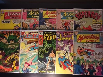 Silver Age Comic Lot Of 10 Action Comics, Adventure Comics, Superman