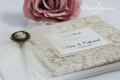Clara - Personalised & Boxed Vintage Cameo Wedding Guest Book