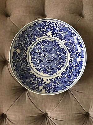 Early 20th century Large Chinese porcelain Blue & White Dragon plate