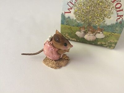 Wee Forest Folk NM-1 NIBBLE MOUSE in Peachy Pink - MINT w/Box