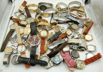 Lot Of (50) Vintage Quartz Ladies & Gents Wrist Watches Misc. Makers No Reserve