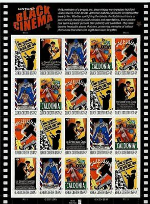 Sheet 20 Mint VINTAGE BLACK CINEMA STAMPS: Early African-American Movie Posters