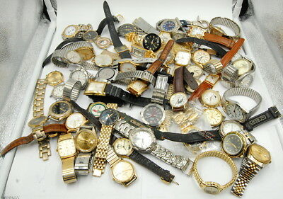Lot Of (54) Vintage Quartz Ladies & Gents Wrist Watches Misc. Makers No Reserve