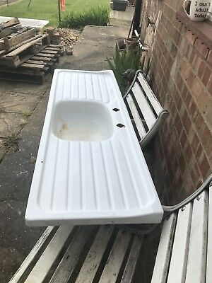vintage Iron Stove Enamelled 1930s Double Drainer Sink