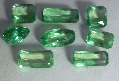 WoW 32 Cts Green kunzite cut stones lot 8 pcs from afghanistan free ship