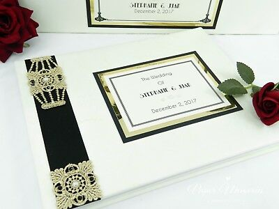 Great Gatsby Art Deco Personalised & Boxed Wedding Guest Book