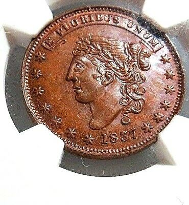 "High Grade - 1837  "" George A. Jarvis ""   Ht - 284 - Low - 123  Ngc Ms - 65  Nr"