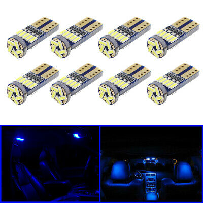T10 194 168 W5W LED for Interior Map Dome License Plate Light Bulb BLUE Set of 8