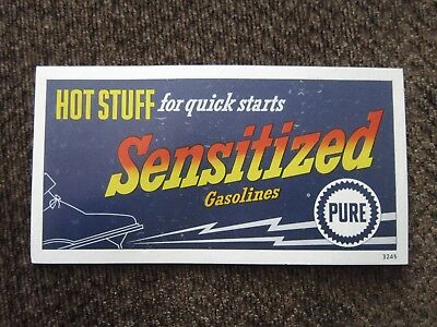 PURE GASOLINES Hot Stuff Sensitized ADVERTISING CARD