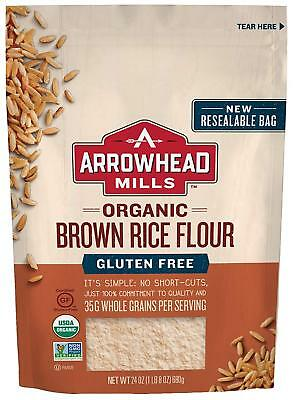 Arrowhead Mills Organic Gluten Free Brown Rice Flour, 24 oz. Pack of 6