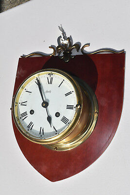 """Vintage Schatz Ships Bell Clock 8 Day Brass Mounted with Key ~ 6"""" Clock Face"""
