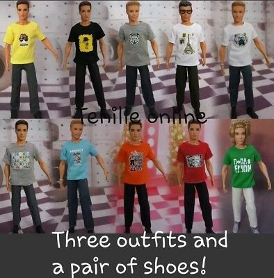 3 sets of New Ken Barbie doll random outfits clothes and pair of shoes
