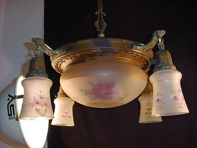 C.1920 BRASS 4 ARM PAN CHANDELIER w/CENTER DOME~ALL GLASS MATCHES (5 shades)