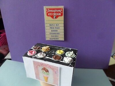 Ice Cream Counter Display Posters Dollhouse Miniatures 1:12 Gailslittlestuff