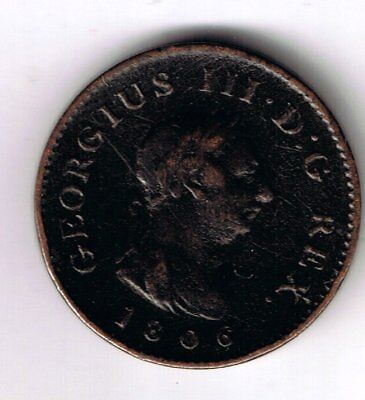 1806 George III farthing 1/4d coin