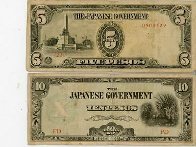 World War Ii Seven Pieces Japanese Occupation Currency