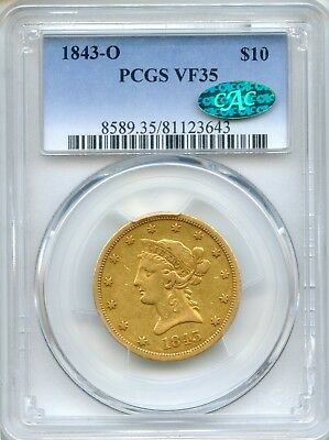 1843-O $10 Liberty PCGS VF35CAC ~ New Orleans Mint US Eagle Gold Coin (81123643)
