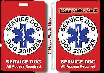 Service Dog ID Badge Tag w/ Strap AND + FREE Wallet Card, Plastic CCard Size