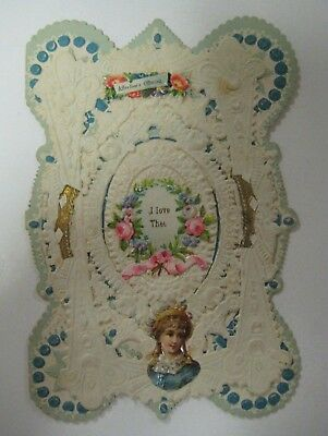 Vintage 1900's Valentine Day Card Antique Layered 3-D Lace Doilies Victorian