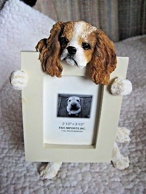 """E&S Imports King Charles Cavalier Dog Photo Picture Frame 2-1/2"""" X 3-1/2"""" NEW"""