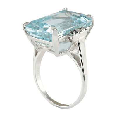 Women Ladies 10.48CT Natural Aquamarine 925 Sterling Silver Wedding Ring Fashion