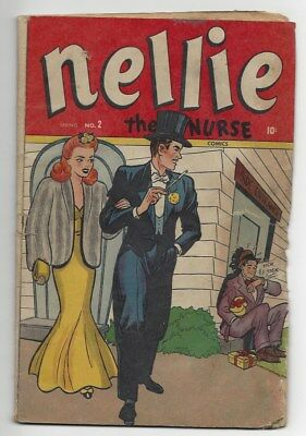 Nellie The Nurse #2 low grade incomplete Marvel 1946 nice cover art