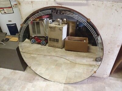 Vintage Art Deco Etched Round Frameless Wall Mirror Large