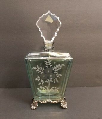 Fancy Colored Cut Glass Sterling Perfume Bottle Cristallo E Argento Italiani 925