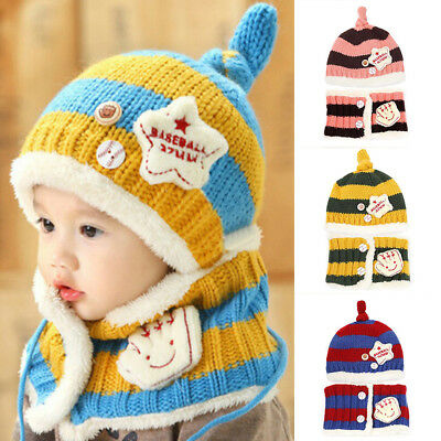 KD_ Toddler Infant Kid Baby Fashion Winter Warm Knitted Striped Hat + Scarf Ra