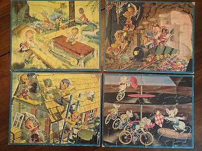 Vintage Disney BILL LAYNE Artist Tray Puzzle Elves Gnomes & Mice - Set of 4