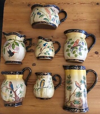 LOT WALL POCKET 7 Old hand painted Bisque chic shabby vintage Birds Beautiful