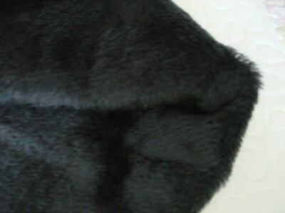 #6   BLACK MOHAIR FABRIC short straight pile 35 x271/2 inch really soft