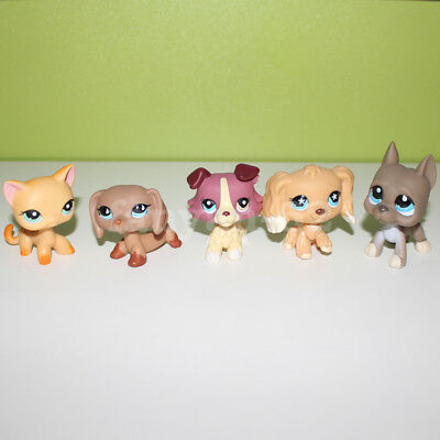 Littlest Pet Shop toy lot LPS yellow cat dachshund collie great dane spaniel dog